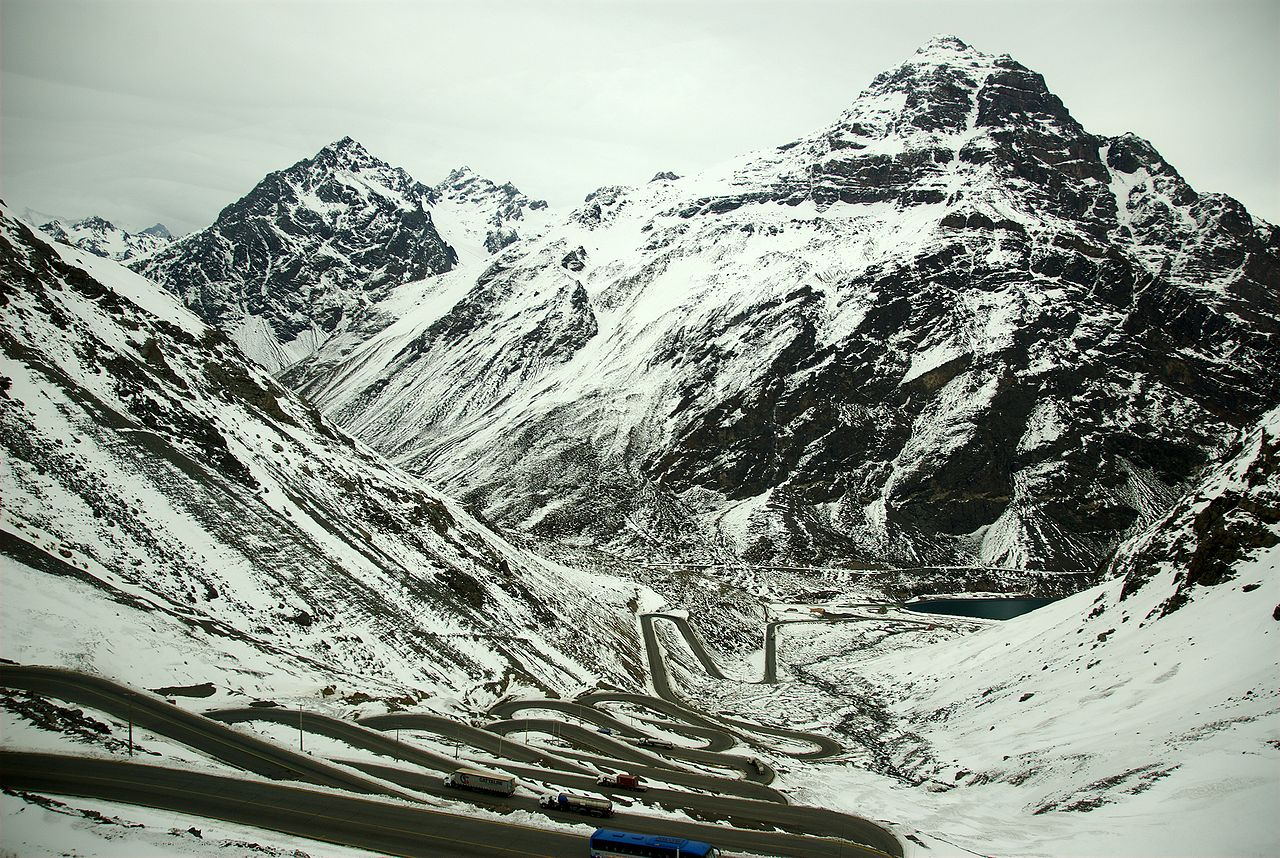 Switchbacks on the Chilean road up to Tunel del Cristo Redentor in winter. Image Credit: Karora used by permission (Image in Public Domain)